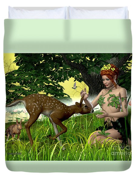 Buttercup Fairy And Forest Friends Duvet Cover by Corey Ford