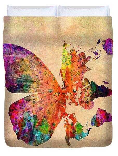 Butterfly World Map  Duvet Cover by Mark Ashkenazi