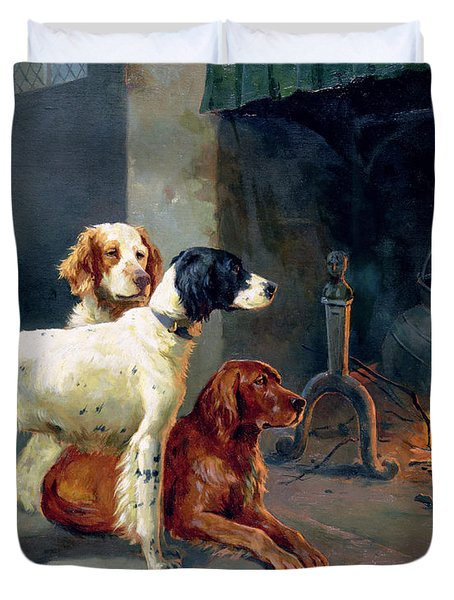 By The Fire Duvet Cover by Alfred Duke