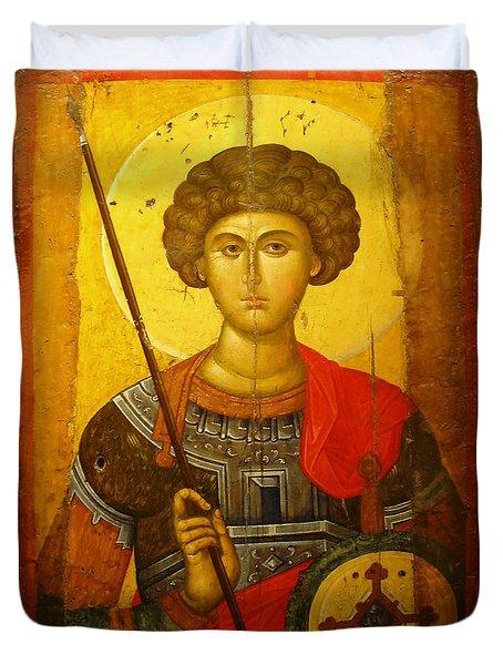 Byzantine Knight Duvet Cover by Ellen Henneke