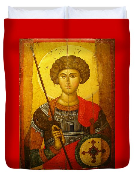 Byzantine Knight Duvet Cover by Ellen Henneke