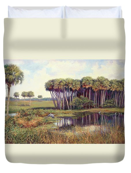 Cabbage Palm Hammock Duvet Cover by Laurie Hein