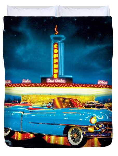 Cadillac Diner Duvet Cover by MGL Studio - Chris Hiett