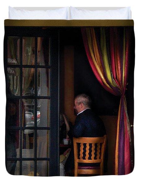 Cafe - Brunch Duvet Cover by Mike Savad