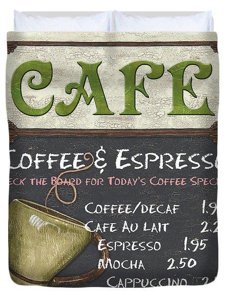 Cafe Chalkboard Duvet Cover by Debbie DeWitt