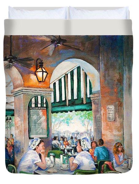 Cafe Girls Duvet Cover by Dianne Parks