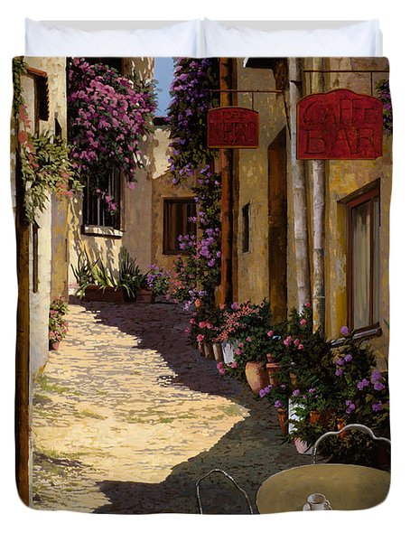 cafe piccolo Duvet Cover by Guido Borelli