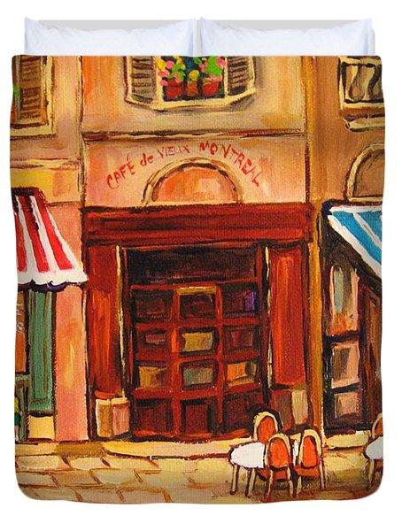 Cafe Vieux Montreal Duvet Cover by CAROLE SPANDAU