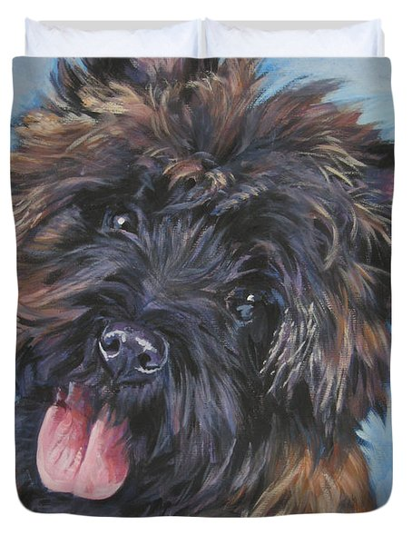 Cairn terrier Brindle Duvet Cover by Lee Ann Shepard