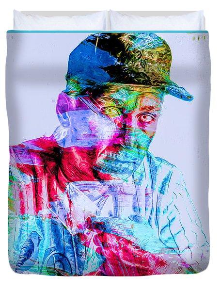 Cal Ripken Jr Baltimore Oriole Painted Digitally Duvet Cover by David Haskett