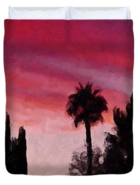 California Sunset Painting 1 Duvet Cover by Teresa Mucha