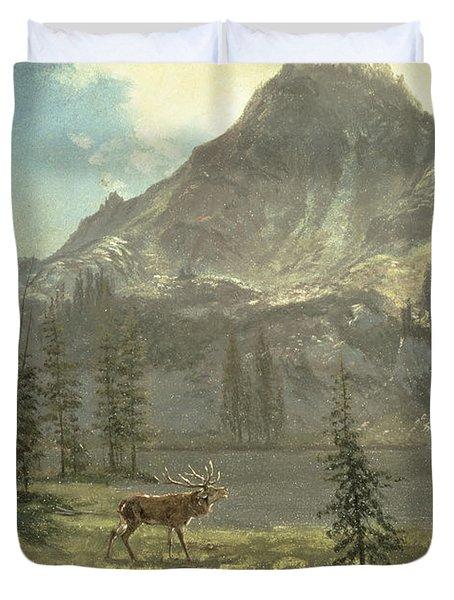 Call Of The Wild Duvet Cover by Albert Bierstadt