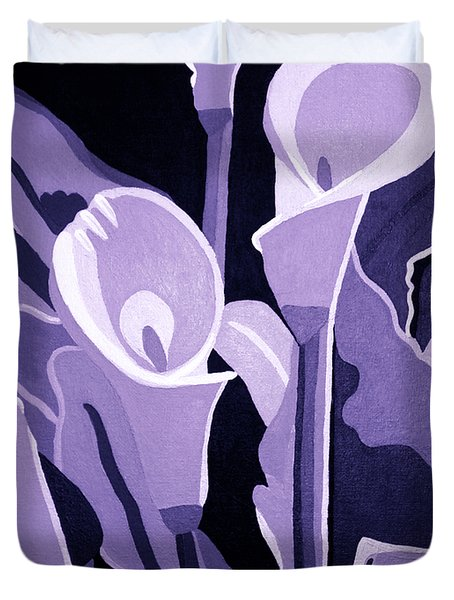 Calla Lillies Lavender Duvet Cover by Angelina Vick