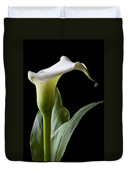 Calla Lily With Drip Duvet Cover by Garry Gay