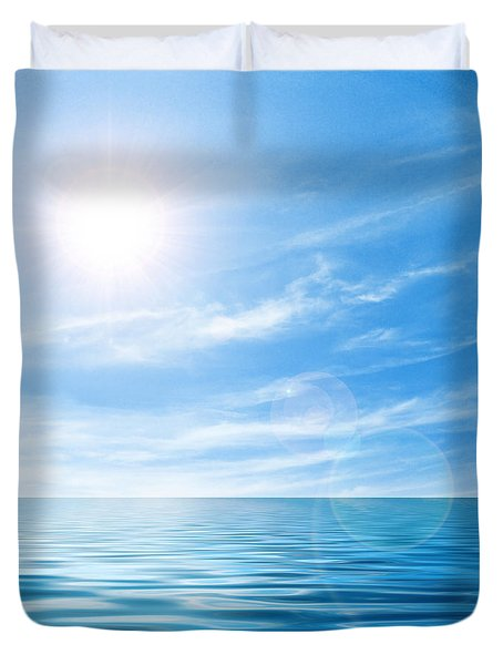 Calm seascape Duvet Cover by Carlos Caetano
