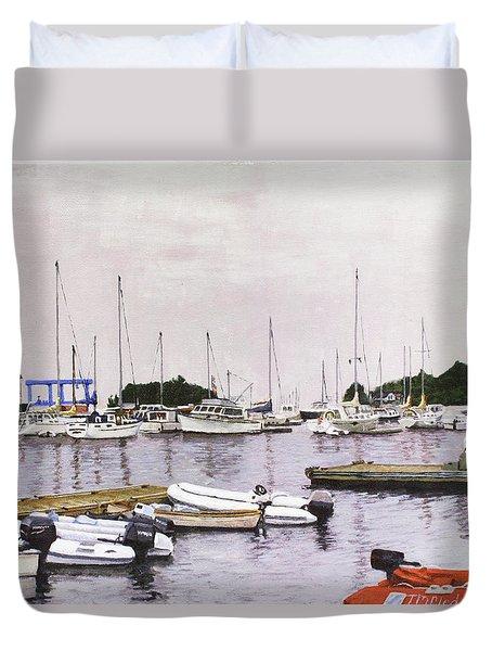 Camden Maine Marina Duvet Cover by Thomas Michael Meddaugh