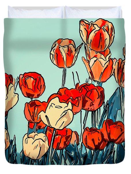 Camille's Tulips - Version 3 Duvet Cover by Steve Harrington