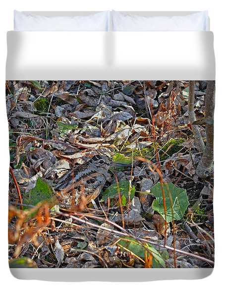 Camouflaged Plumage With Fallen Leaves Duvet Cover by Asbed Iskedjian