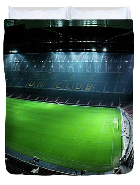 Camp Nou At Night Duvet Cover by Agusti Pardo Rossello