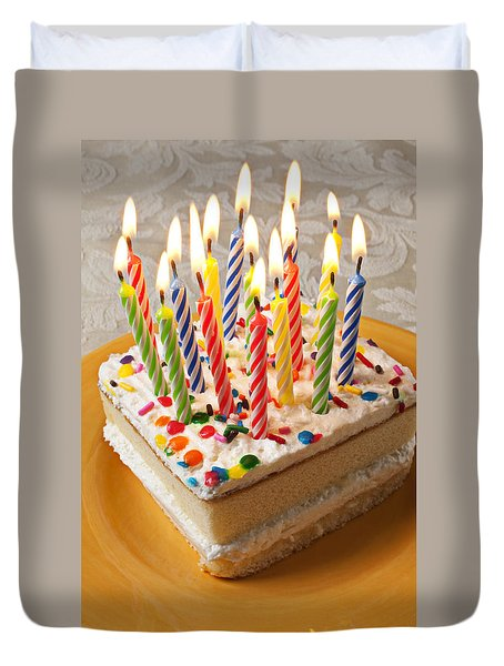 Candles On Birthday Cake Duvet Cover by Garry Gay