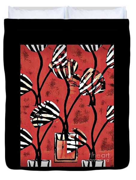 Candy Stripe Tulips 2 Duvet Cover by Sarah Loft