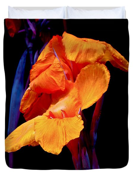 Canna Lilies on Black With Blue Duvet Cover by Mother Nature