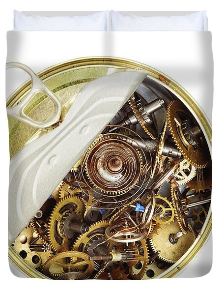 Canned Time - Parts Of Clockwork Mechanism In The Can Duvet Cover by Michal Boubin