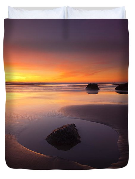 Cannon Beach Sunset Duvet Cover by Mike  Dawson