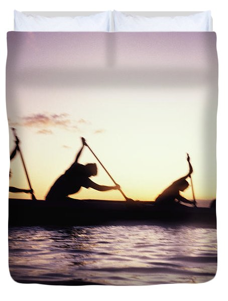 Canoe Race Duvet Cover by Bob Abraham - Printscapes