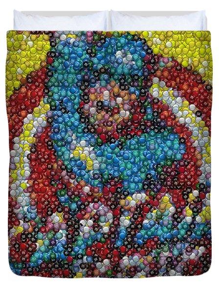 Captain America MM mosaic Duvet Cover by Paul Van Scott