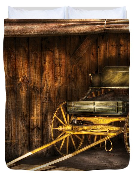 Car - Wagon - The Old Wagon Duvet Cover by Mike Savad