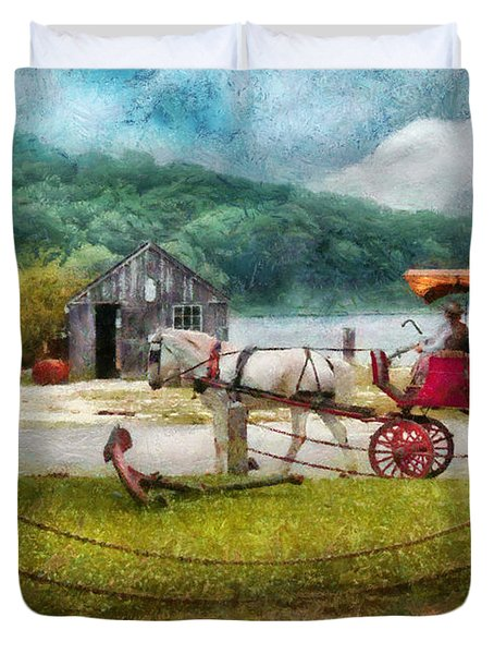 Car - Wagon - Traveling In Style Duvet Cover by Mike Savad
