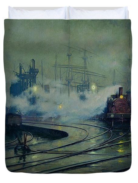 Cardiff Docks Duvet Cover by Lionel Walden