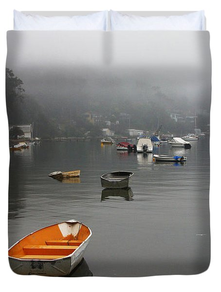 Careel Bay Mist Duvet Cover by Avalon Fine Art Photography