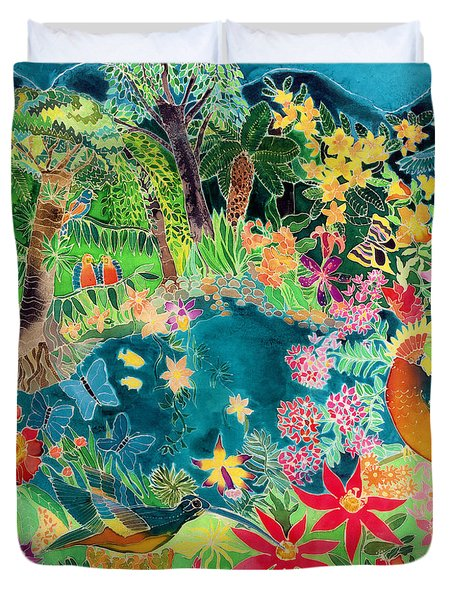 Caribbean Jungle Duvet Cover by Hilary Simon