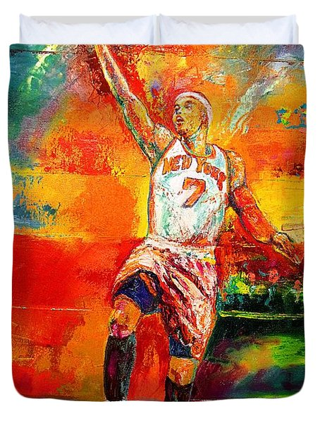 Carmelo Anthony New York Knicks Duvet Cover by Leland Castro