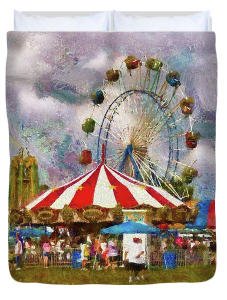 Carnival - Look At All The Excitement Duvet Cover by Mike Savad