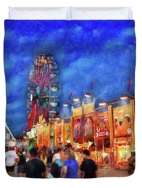 Carnival - The Carnival At Night Duvet Cover by Mike Savad