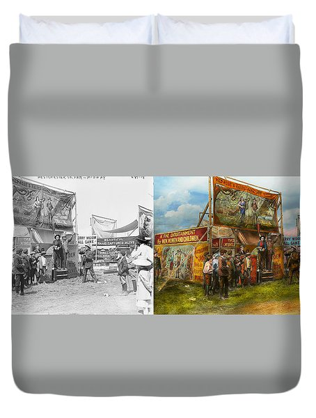 Carnival - Wild Rose And Rattlesnake Joe 1920 - Side By Side Duvet Cover by Mike Savad