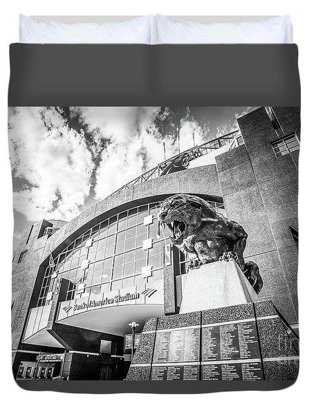 Carolina Panthers Stadium Black And White Photo Duvet Cover by Paul Velgos