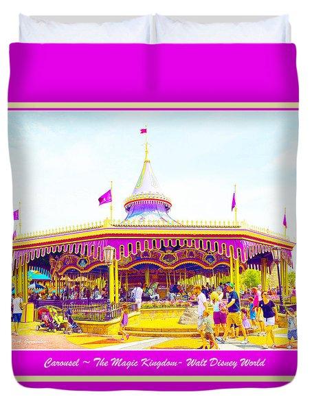 Duvet Cover featuring the digital art Carousel Walt Disney World  by A Gurmankin