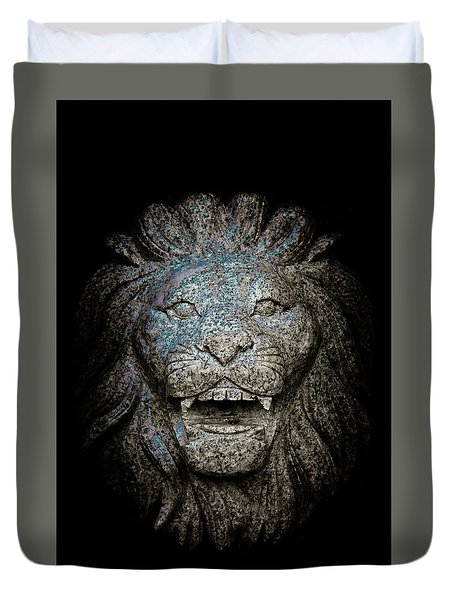 Carved Stone Lion's Head Duvet Cover by Loriental Photography