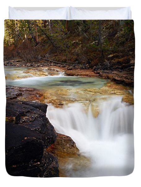 Cascade On Beauty Creek Duvet Cover by Larry Ricker