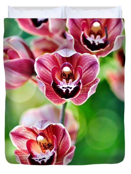 Cascading Miniature Orchids Duvet Cover by Kaye Menner