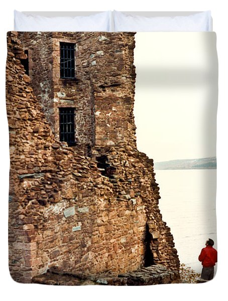 Castle Ruins On The Seashore In Ireland Duvet Cover by Douglas Barnett