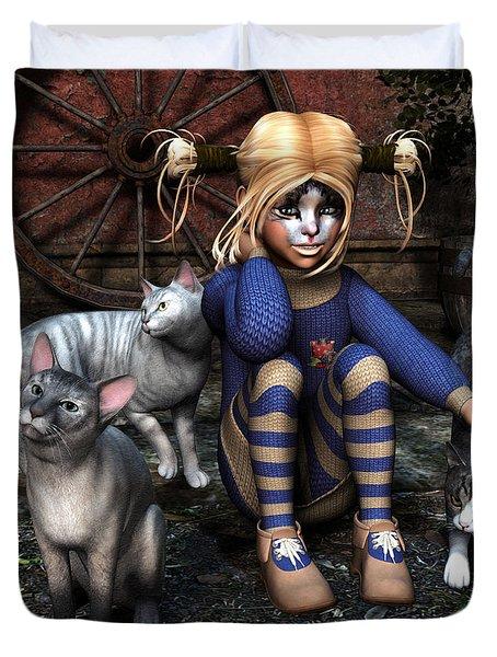 Cat Girl Duvet Cover by Jutta Maria Pusl