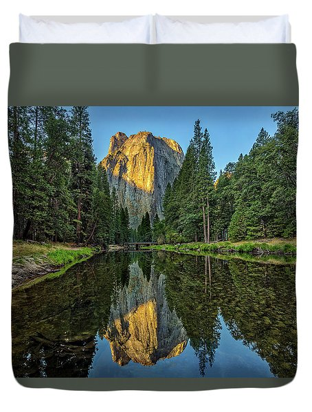 Cathedral Rocks Morning Duvet Cover by Peter Tellone