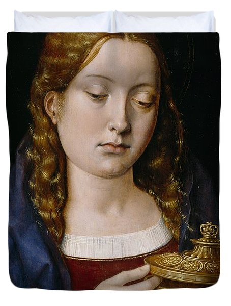 Catherine Of Aragon As The Magdalene Duvet Cover by Michiel Sittow