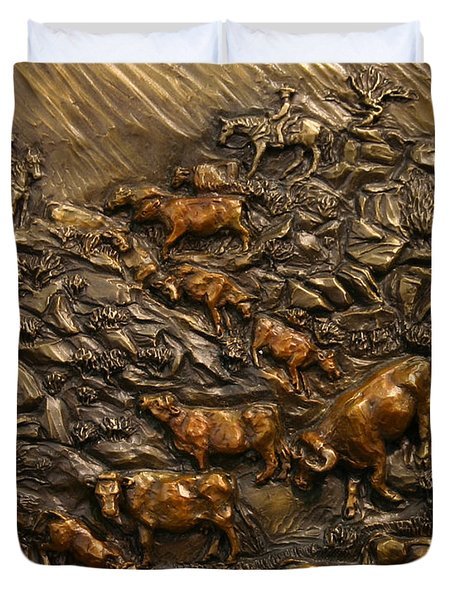 Cattle Drive Duvet Cover by Dawn Senior-Trask