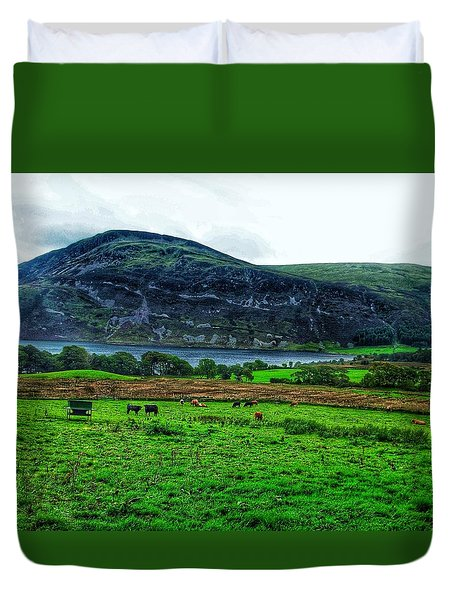 Cattle Grazing At Buttermere Duvet Cover by Joan-Violet Stretch